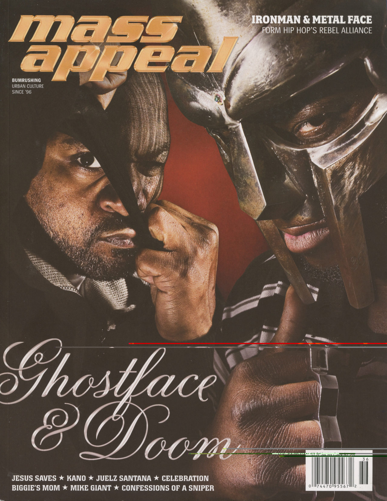 Ghostface Killah and MF Doom on the cover of Mass Appeal issue 36.